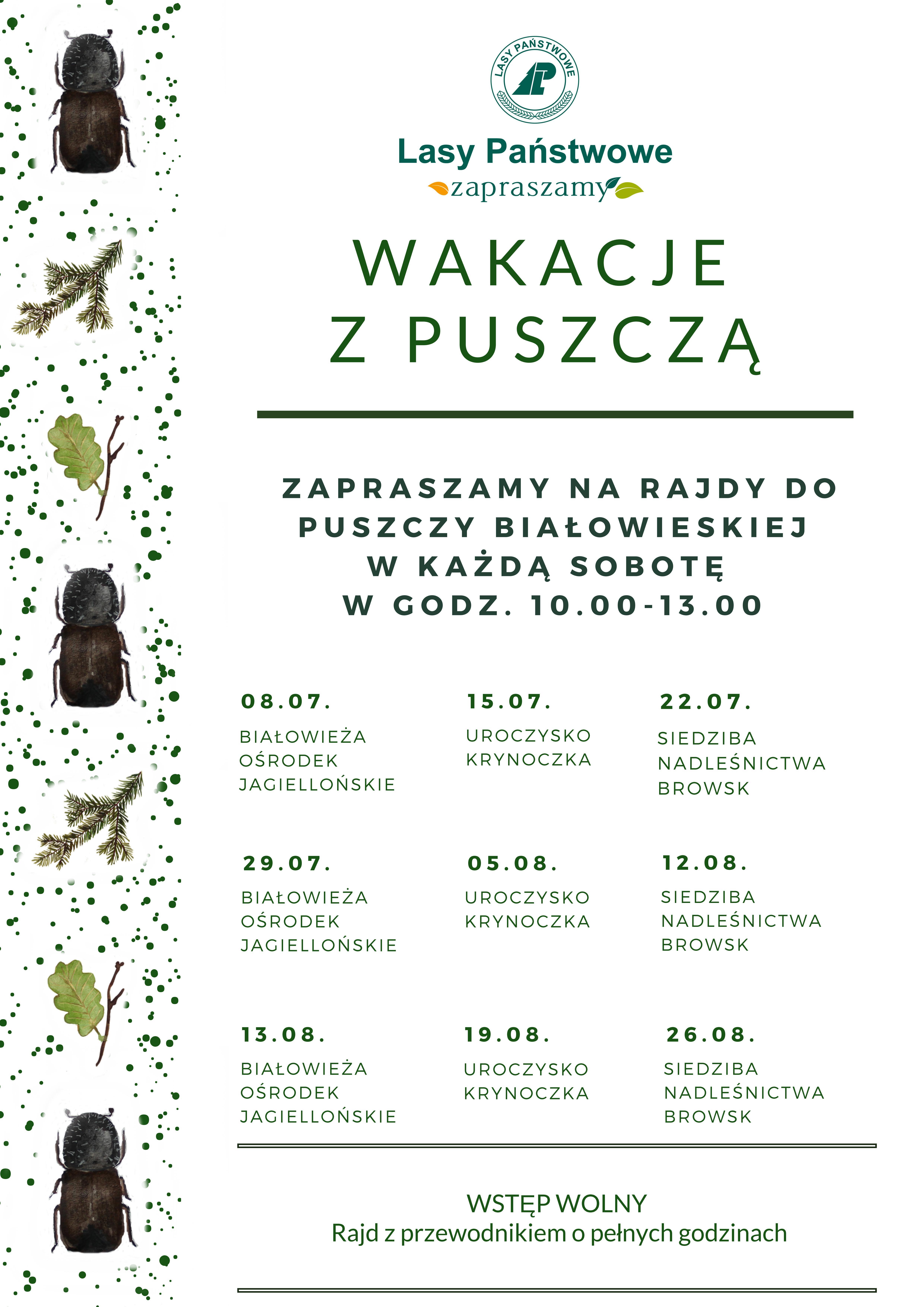 Plakat Wakacje z Puszczą